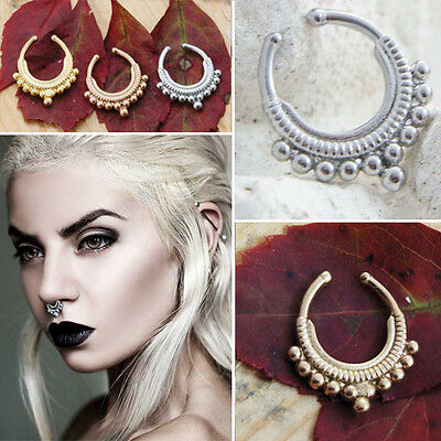 Simple Tribal Beaded Septum Illusion Clip Nose Clip On Clicker Ring Non Piercing