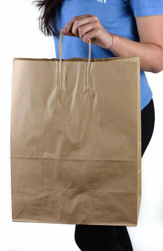50 Pack XL Durable Brown Kraft Paper Bags with Handles for Grocery and Takeout