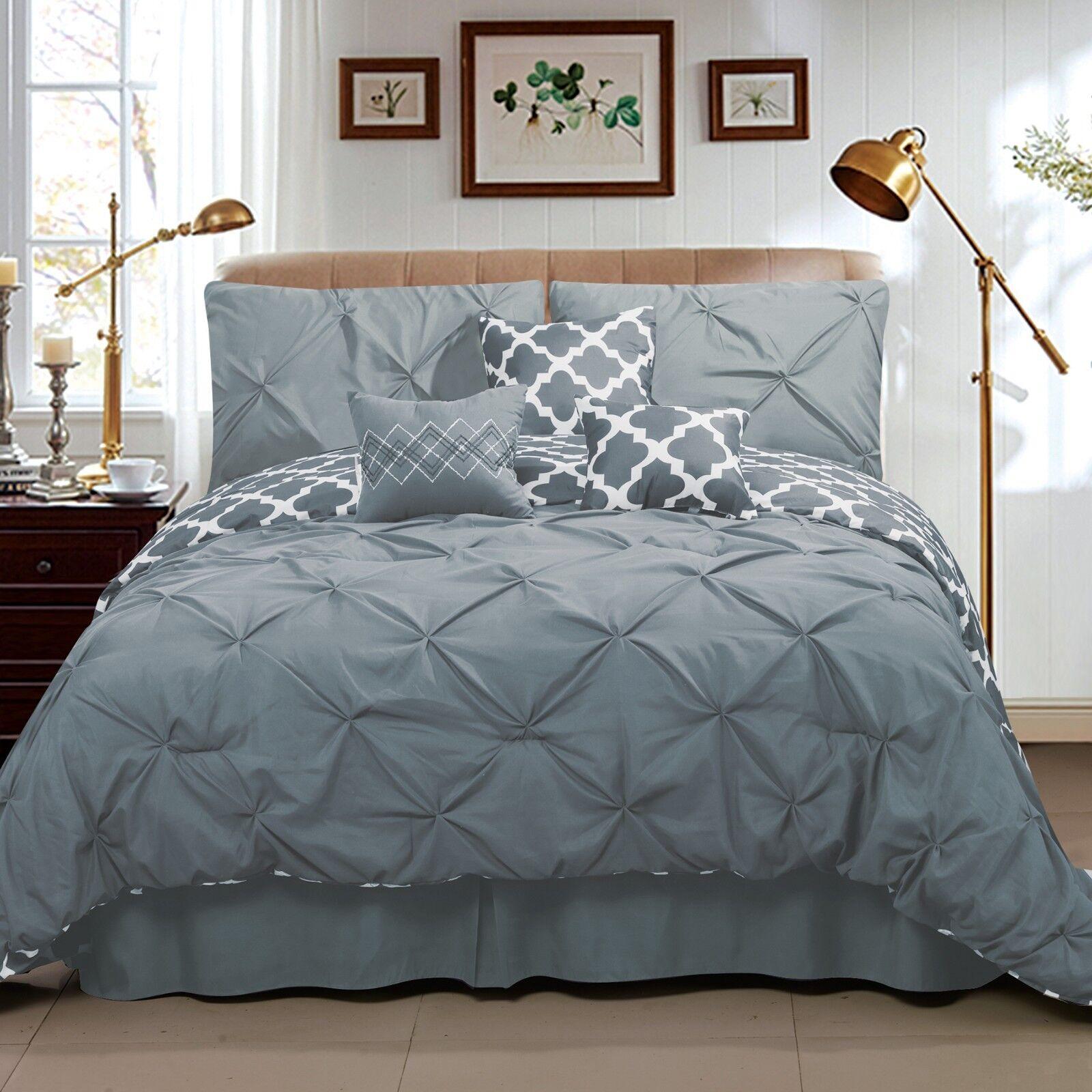 Deluxe grau Weiß Pleat Pinch Fretwork Reversible comforter 7 pcs Set