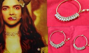 Indian GoldTone Bollywood Ethnic Nose Ring Wedding Party Hoop Nath