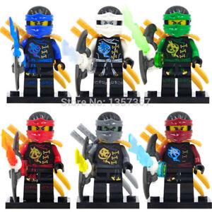 Ninjago-Spielzeug-Jungen-Ninja-Mini-Figuren-X-6-Kai-Cole-Lloyd-NYA-JAY-UND-ZANE-Fit-Lego-B
