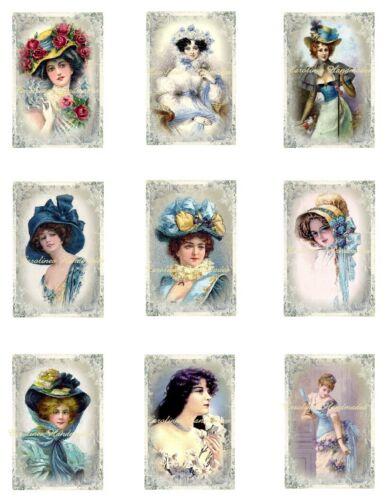 "9 Vintage Ladies C Reproduction Fabric Quilt Blocks @ 2X3/"" on 8.5X11/"" Sheet"