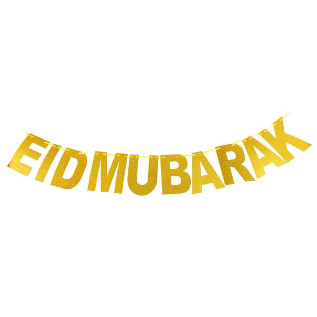 1 Set Gold EID MUBARAK Banner Glitter Paper Garland EID Party Ramadan Decor TS