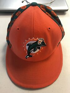 e0ad3953ad56a5 NFL Miami Dolphins Reebok Size 7 Fitted Hat Cap Orange/Green NEW   eBay