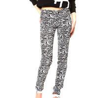 Tripp Nyc Blk White Zebra Animal Print Stretch Jean Skinny Leg Glam Pant 26 3 Xs