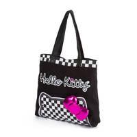 Hello Kitty Checkered Tote Bag Purse Black Pink Bow Handbag Sanrio