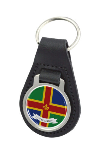 Licolnshire County Flag Round Black Leather Keyring