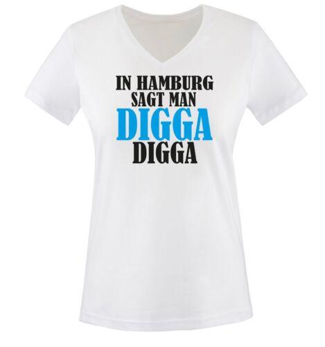 Ad Amburgo si dice Digga-due colori-Da Donna V-Neck T-shirt-Tg XS a XXL V