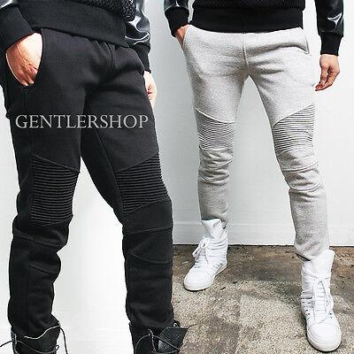Mens Fashion Designer Slim Fit Reinforced Knee Sweatpants 3 Colors, GENTLERSHOP