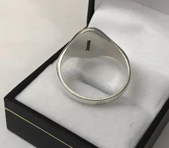 VINTAGE Da Uomo Hm Ovali argentoo Sterling Inciso Inciso Inciso Design Anello Con Sigillo Grande Dimensione Z - 7.1g 8e7868
