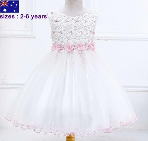 Girl Kid Birthday Occasional  Party Dress White Pink size 2,3,4,5,6 years