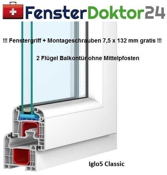 Stulp - Balkontür - Kunststoff - Breite 2100 mm - 2 Flügel - mit 2 od 3fach Glas
