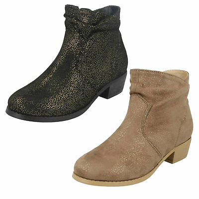 H5082- Girls Black or Tan Spot On Cowboy Style Fashion Ankle Boots- Great Price!