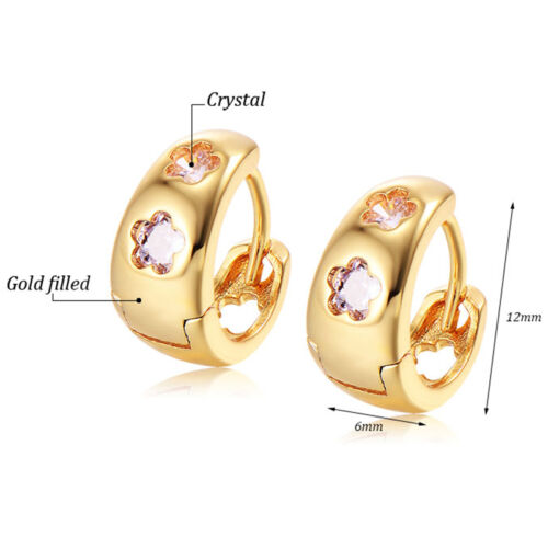 Children Kid Girls Safety Crystal Cute Flower Cute Hoop Earrings 14k Gold Filled