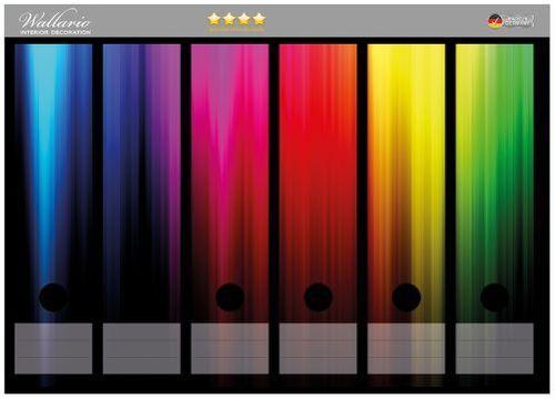Wallario Ordnerrücken selbstklebend 6 breite Ordner Bunte Regenbogenstreifen