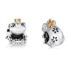 Frog Prince with Gold Crown Two Tone Genuine Silver 925 Pedant Charm +Gift Pouch
