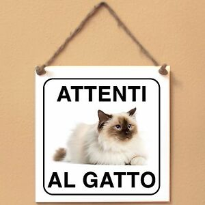 Gatto-sacro-di-Birmania-5-Attenti-al-gatto-Targa-gatto-cartello-ceramic-tiles