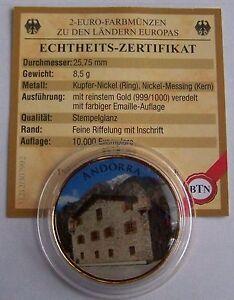 2 Euro Münze Andorra Mit Gold Farbe Sehr Selten Ebay