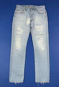Levis-501-W33-L32-tg-47-jeans-uomo-donna-usato-vintage-destroyed-boyfriend-T6105