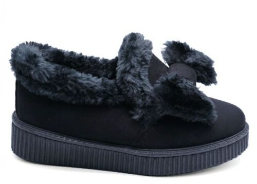 Ladies Women/'s Black /& Tan Camel Fur Fluffy Moccasin Loafer Wedge Shoes Boot