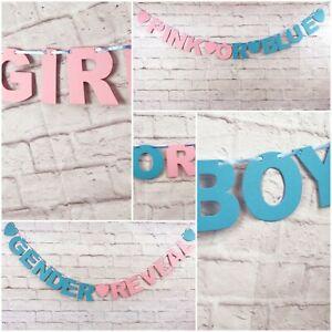 Baby-Shower-Banner-Boy-Girl-Rosa-o-Blu-Decorazioni-Bunting-SESSO-rivelare