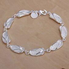 Women fashion Jewelry 925 Sterling Silver Flip Flop Chain Charm Bangle Bracelet