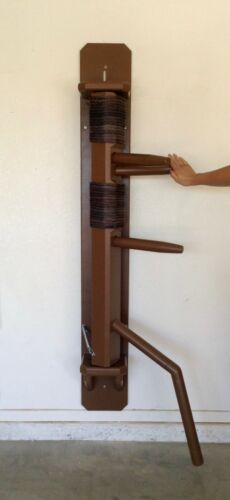 BLACK or BROWN Wing Chun Recoil Full Wall Hanging Dummy