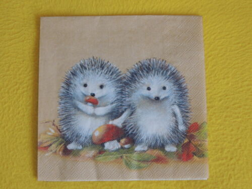 5 servilletas erizos serviettentechnik motivservietten otoño Hedgehog animales hongos