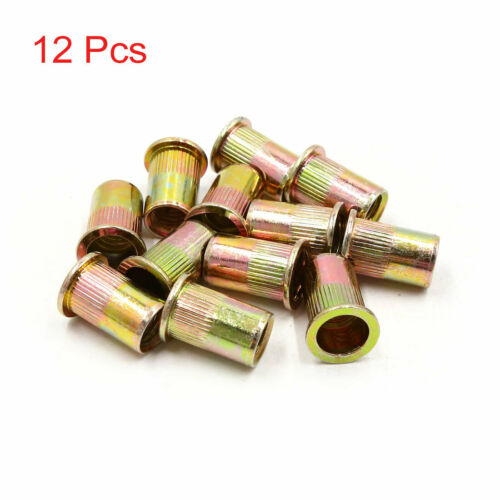 12pcs 1//2 inch Thread Bronze Tone Flat Head Rivet Nut Insert  for Car