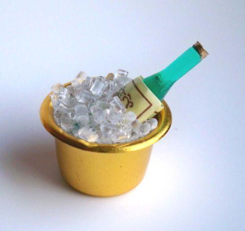 1:12 miniatura sektkühler con hielo y botella