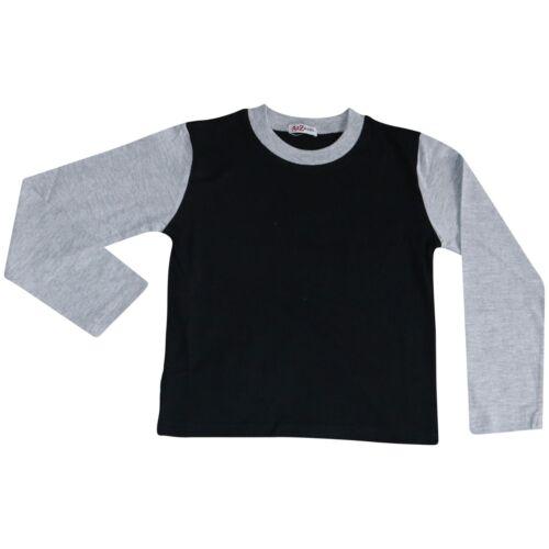 Kids Boys Girls Pjs Contrast Grey Color Plain Stylish Pyjamas Set Age 2-13 Years