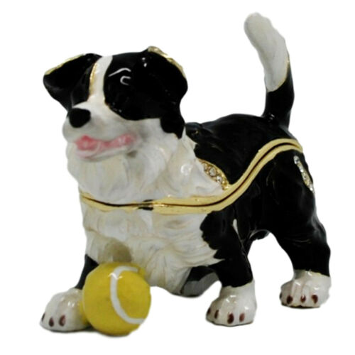 Border Collie Pup with Ball Dog Jewelled Trinket Box Figurine Approx 5cm High