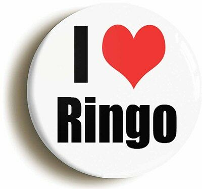 I HEART LOVE RINGO RETRO BADGE BUTTON PIN (1inch/25mm diameter) 1960s STARR