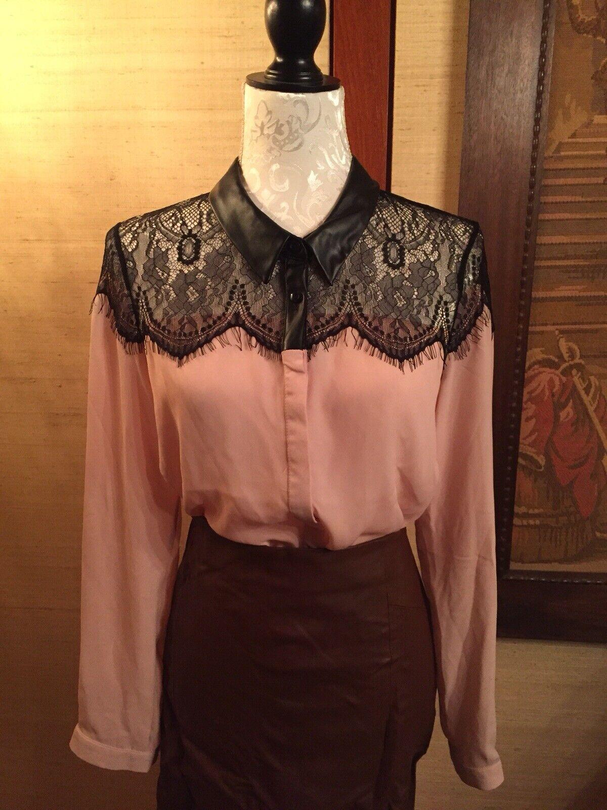 LIPSY x Michelle Keegan Blause Shirt 38 14 Rosa Spitze Lederkragen Pastell miu