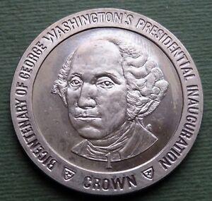 1989 Île De Man Pièce De Monnaie 1 Couronne Elizabeth Ii George Washington Km Couleur Rapide