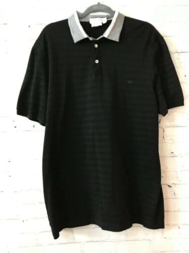 Salvatore Ferragamo Mens Black Striped Short Sleev