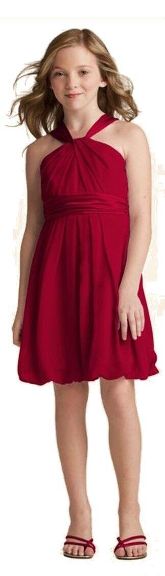 Davids Bridal Crinkle Chiffon Bubble Flower Girl Dress Y Neck Size 14 Apple Red
