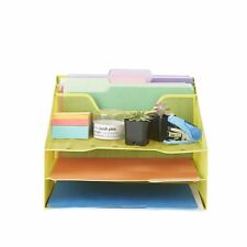 Mind Reader 5 Section Mesh Metal Desk File Organizer For Desk Accessories Yellow