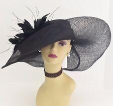 Kentucky Derby Church Wedding Feather Flower Sinamay Wide Dress Hat 58 ( Black )