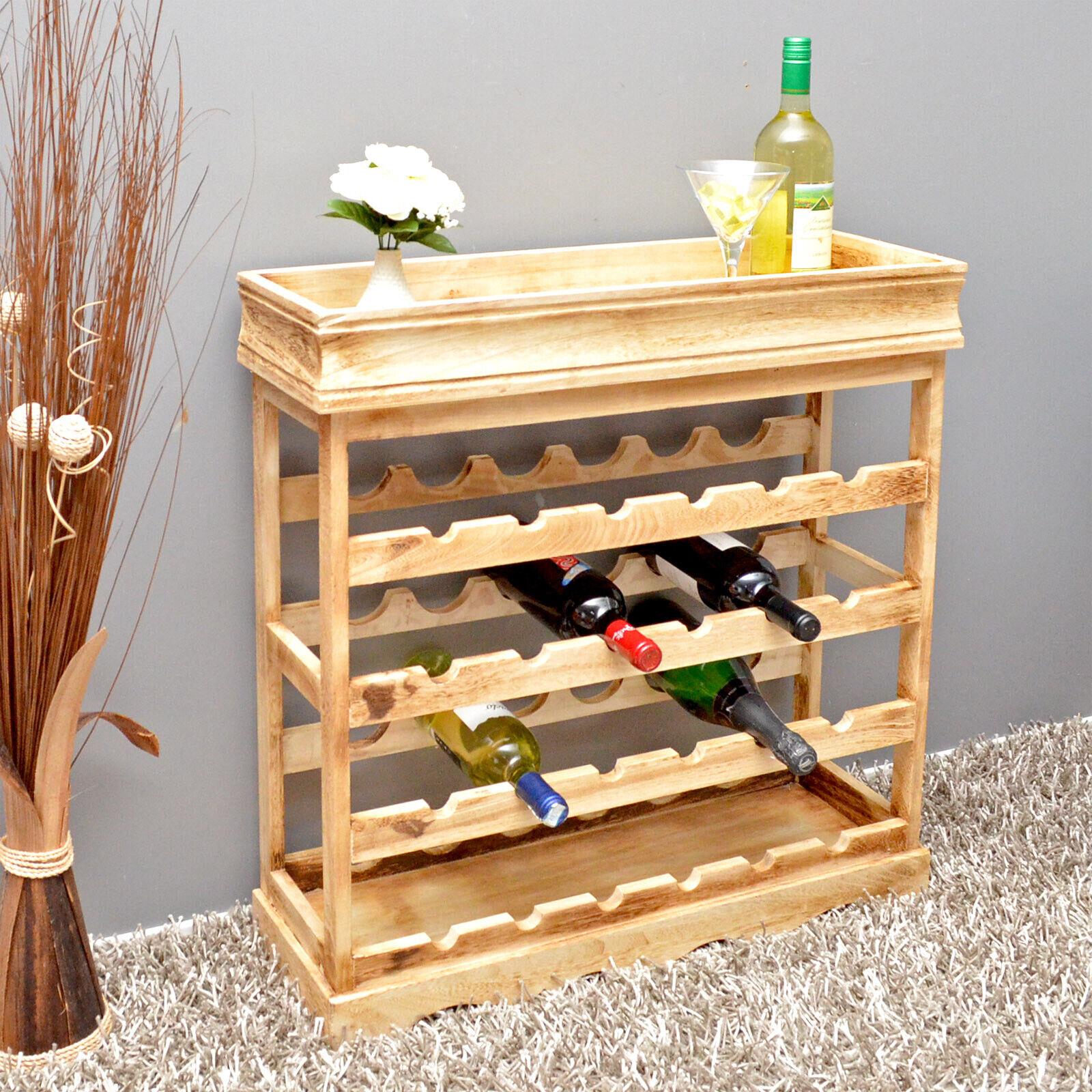 Étagère à vin marron clair Shabby 24 bouteilles bouteilles étagère bois vin étagère Board Neuf