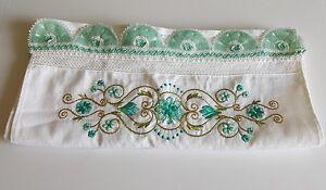 Hand Crochet Traditional Turkish Cotton Hand Towel,White-Gr<wbr/>een-Gold, 35&#039;&#039; x 19&#039;&#039;