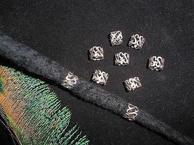 Dreadlock Beads 8x 'S' Scroll Swirl Antiqued Silver Beads 6mm Hole Stunning *UK*