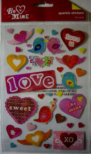NEW  VALENTINE SPARKLE STICKERS  Sweetheart Heart BE MINE