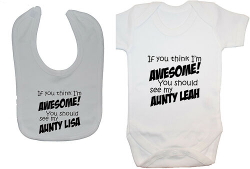 Aunty Personalised BabyGrow//Bodysuit//Romper//T-Shirt /& Feeding Bib 0-24m Boy Girl