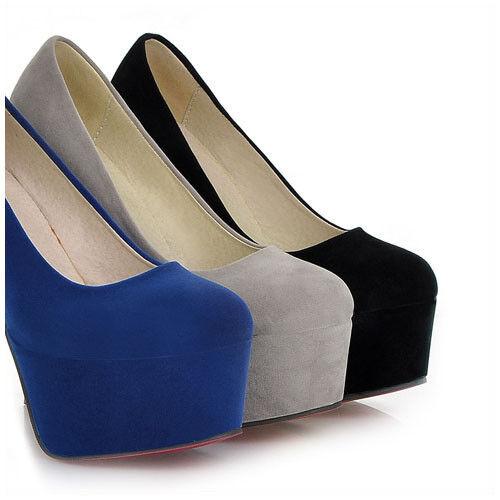 New Fashion Velvet Puppy Sexy Lady Womens Platform High Heel Shoes