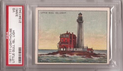 1911 Hassan T77 Lighthouse Tobacco Card Little Gull Island Light graded PSA 3