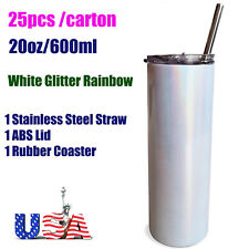 Us 25pcs 20oz Sublimation Straight Skinny Tumblers Glitter Sparkling With Straw