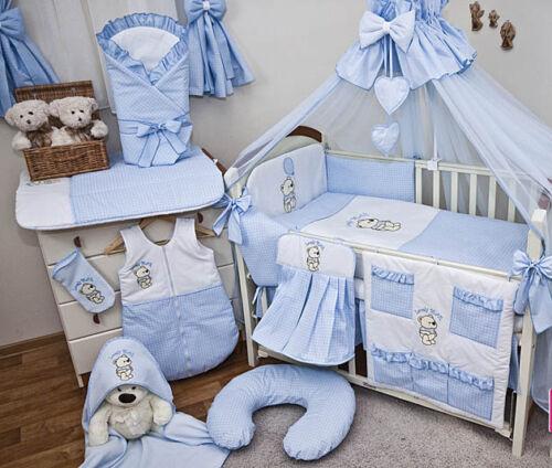 Babybett mit 23-tlg Komplett-Set Bettwäsche Matratze Nestchen Himmel NEU