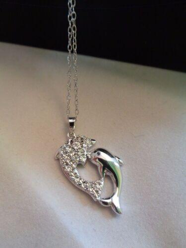 18 925 Neuf avec étiquettes Nouveau Argent Sterling Diamant accent Dauphin Pendentif Chaîne Collier