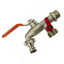 Double Duo Outlet Garden Outside Outdoor Tap Valve 1//2/'/' x 3//4/'/' x 3//4/'/'